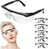 5 Pcs Fashion Adjustable Anti-fog Safety Goggles, Integrated Side Protection, Temples Design Fit Most People, Clear, Fog-Free, Scratch - Resistant Eyewear for Men & Women