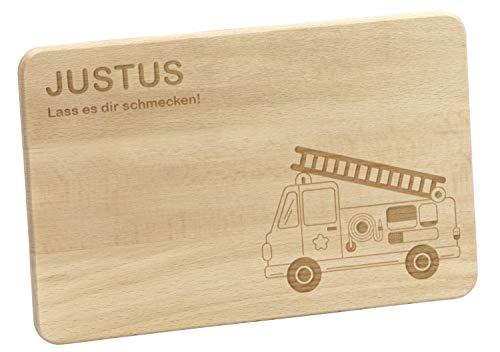 LAUBLUST Frühstücksbrettchen mit Gravur Personalisiert - Feuerwehrauto - Geschenk für Kinder | 24x15cm, Holz FSC®