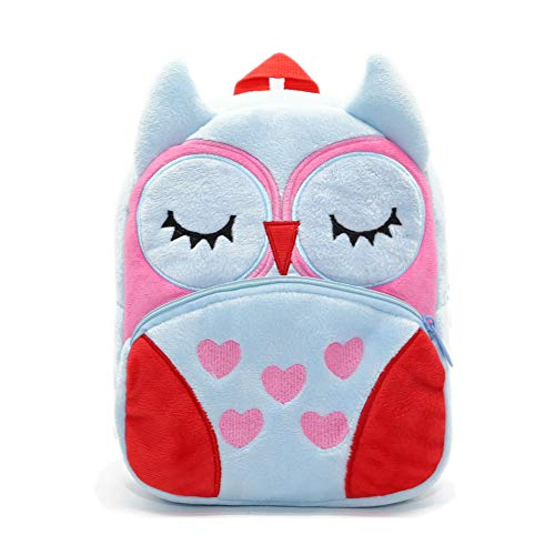 Nice Choice Cute Toddler Backpack Toddler Bag Plush Animal Cartoon Mini Travel Bag for Baby Girl Boy 1-6 Years (Owl2)