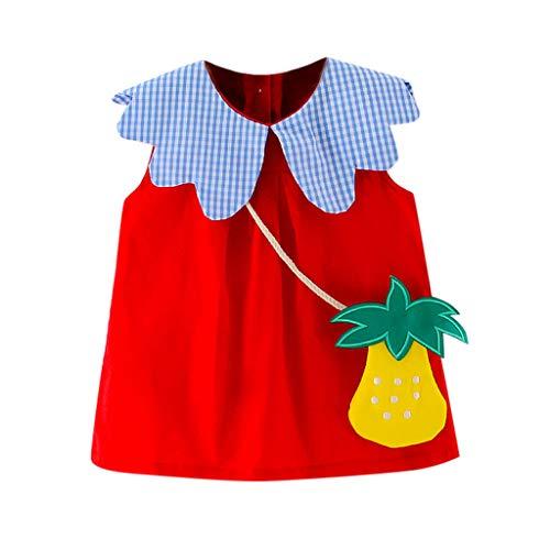 Julhold Peuter Kind Baby Meisje Mode Leuke Blauwe Plaid Gedrukt Fruit Tas Party Prinses Jurk Kostuum