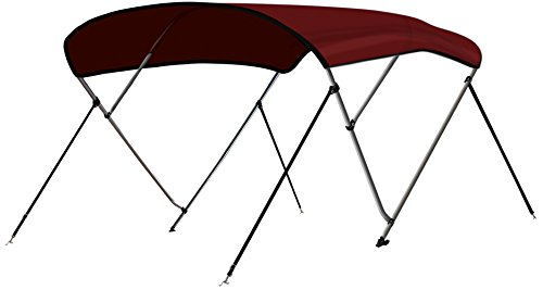 "Leader Accessories Burgundy 3 Bow 6'L x 46"" H x 67""-72"" W Bimini Top Cover 4 Straps for Front and Rear Includes Mounting Hardwares with 1 Inch Aluminum Frame"