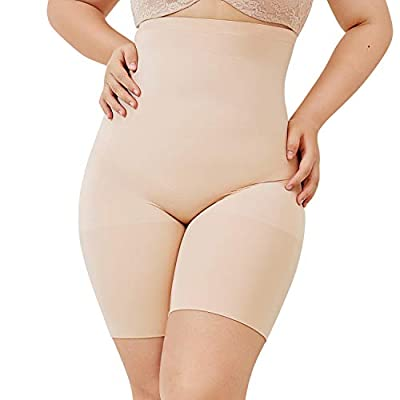 DELIMIRA Women's Plus Size High Waist Control Panties Shapewear Thigh Slimmer Beige 2X (22W-24W)