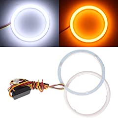 Voltage: 12V, Lumen: 15LM/SMD, Led Type: 4014 led chips, Color: White/Amber Switchback 100% Brand New and Waterproof Applications: Daytime running light, headlight, width lamp, fog lamp The outer size is about 110mm and the inner side is 100mm Please...