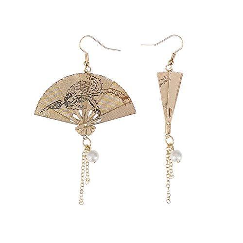 C- Damen Ohrringe - Faltbare Fächerohrringe aus Metall im chinesischen Stil mit Fransen und Temperament