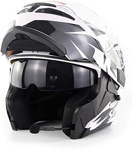 Helm Motorrad drahtlose Übertragung Vollvisierhelm / Erwachsener Rennen Straßenrennen Motorradhelm Cromwell Helm JET Doppelspiegel modular Flip Helm (S, M, L, XL, XXL), XXL, Größe: Klein Motorradhelm