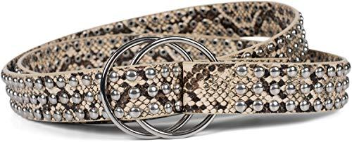 styleBREAKER Dames tailleband met kogelnagels en ringgesp, One size/Onesize, Vintage Style, genopte riem 03010111