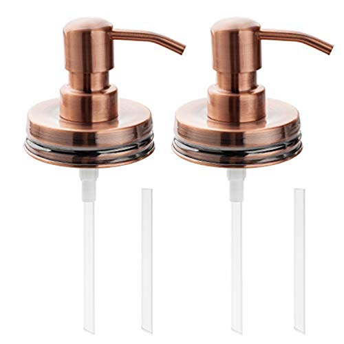 Rust Proof Stainless Steel Soap Dispenser Pump Replacement for Mason Jar, Lotion Dispenser Pump & Lid - 2 Pack Set (Copper)