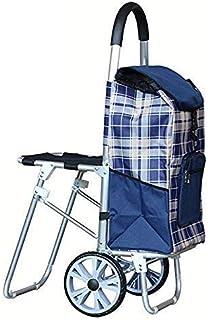 عربة تسوق بعجلات قابلة للطي خفيفة الوزن ذات سعة كبيرة مع حقيبة عربة أطفال بمقعد بعجلتين