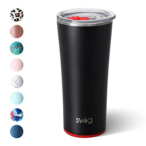 Swig Life 22oz Triple Insulated Stainless Steel Skinny Tumbler with Lid, Dishwasher Safe, Double Wall, and Vacuum Sealed Travel Coffee Tumbler in Matte Black/Red Pattern (Multiple Patterns Available)