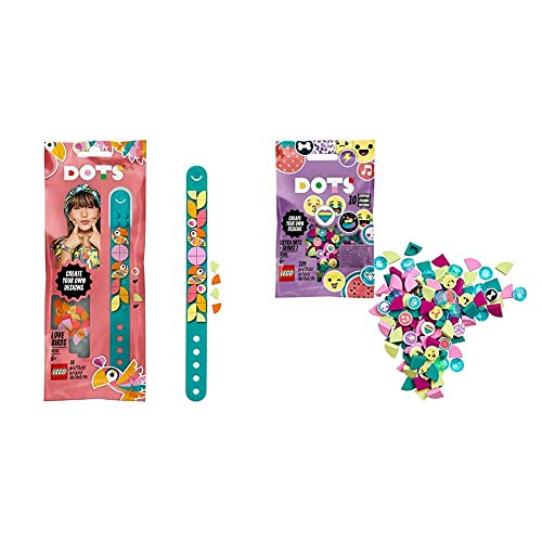 LEGO DOTS Love Birds Bracelet DIY Jewellery with Extra DOTS - series 1 DIY Tiles Beads Set, Art and Craft for Kids with 10 Surprise Charms
