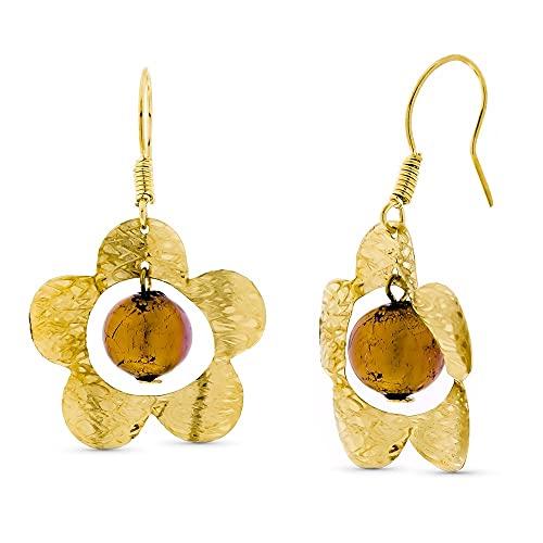 Pendientes oro 18k mujer largos flor detalles combinada bola cristal murano