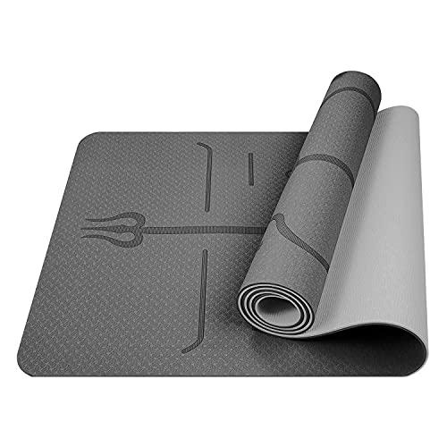 LLZH Esterilla de yoga antideslizante, línea de posición absorbente de sudor antideslizante almohadilla de fitness para hombres y mujeres, esterilla de yoga de goma natural de poliuretano