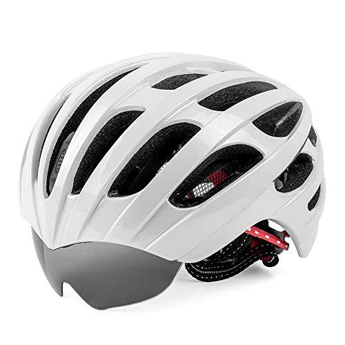 Mhwlai Casco da Mountain Bike, Occhiali retrattili integrati, Occhiali da Equitazione Monopezzo, Casco, Cappello, equipaggiamento (Bianco)