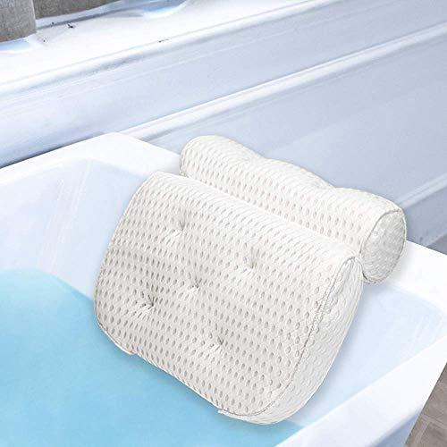 Badkussen, badkuip-spakussen met 4D Air Mesh-technologie en 7 zuignappen voor nek- en rugsteun