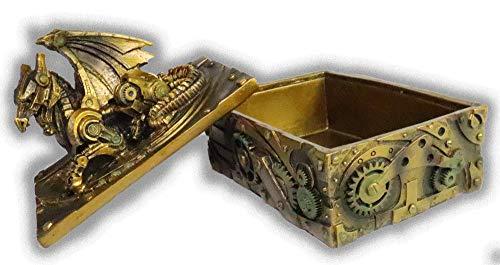 "WorldWideSlides Mythical Steampunk Dragon Trinket, Jewelry Box - 5"" - Fabulous Detail 5"