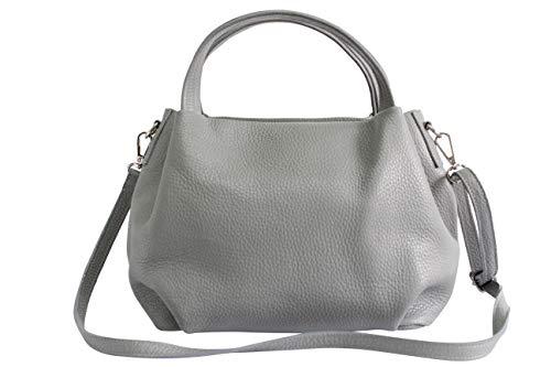 AmbraModa Damen handtasche Henkeltasche Schultertasche aus Echtleder GL023 (Hellgrau)