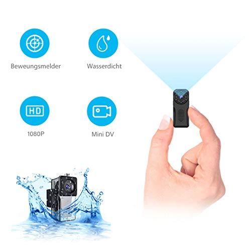 NIYPS wasserdichte Mini Kamera, Full HD 1080P Super Mini Cam, Tragbare Kleine Überwachungskamera mit Aufzeichnung, Kabellose Nanny Cam mit Bewegungserkennung und Infrarot Nachtsicht für Innen/Aussen