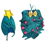 VALICLUD - Disfraz de árbol de Navidad para bebé o niña, color verde con juego de gorro de estrella