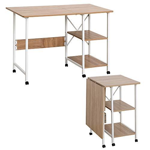 HOMCOM Klapptisch Schreibtisch Beistelltisch Bürotisch Mobiler Computertisch mit Rollen MDF Natur 107 x 55 x 76 cm