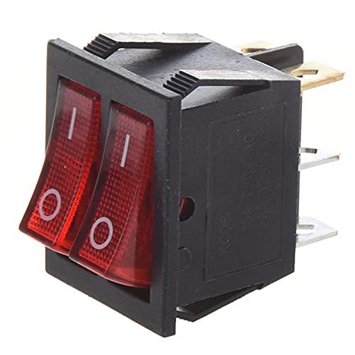 HUANHUAN Huan Store Luz roja iluminada 6 Pin Dual SPST ON/Off Interruptor de balancín Barco AC 15A / 250V 20A / 125V (Color : Red Black, Voltage : 125250 v)