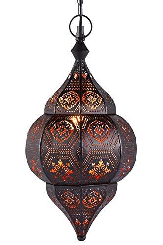 Orientalische Lampe Pendelleuchte Schwarz Layan 40cm E14 Lampenfassung | Marokkanische Design Hängeleuchte Leuchte aus Marokko | Orient Lampen für Wohnzimmer Küche oder Hängend über den Esstisch