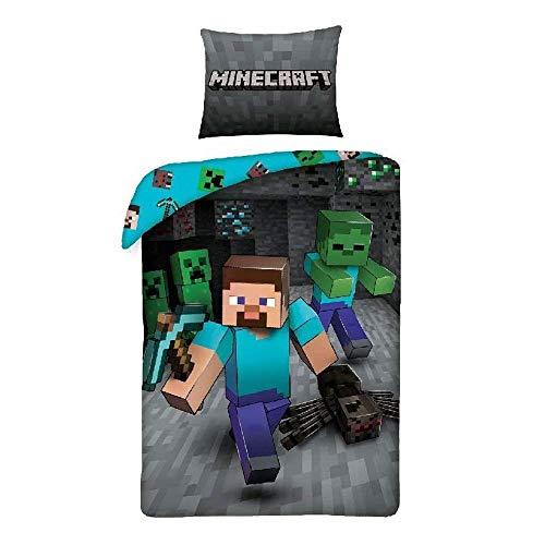 Halantex - MNC207 - Minecraft Steve Einzelbett-Set mit Axt Original offizieller Bettbezug - Mehrfarbig - 100% Baumwolle - 140x200cm + 70x90cm