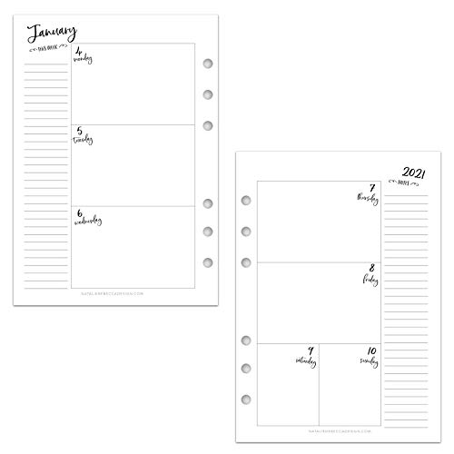 2021 HORIZONTAL Weekly & Monthly Calendar for A5 Planners, fits Filofax, Kikki K, Carpe Diem Planners, 6 Ring binder, 5.8' x 8.3' Whimsy (Planner Not Included)