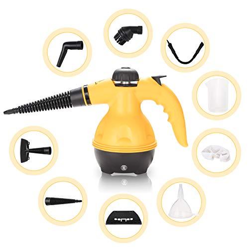 VINGO Dampfreiniger handgerät, tragbare und vielseitiger tragbarer zum Entfernen von Teppichen, Küche, Autositzen, Kammern, Böden, Bädern und mehr| Verdampfer mit 9 Zubehörteilen