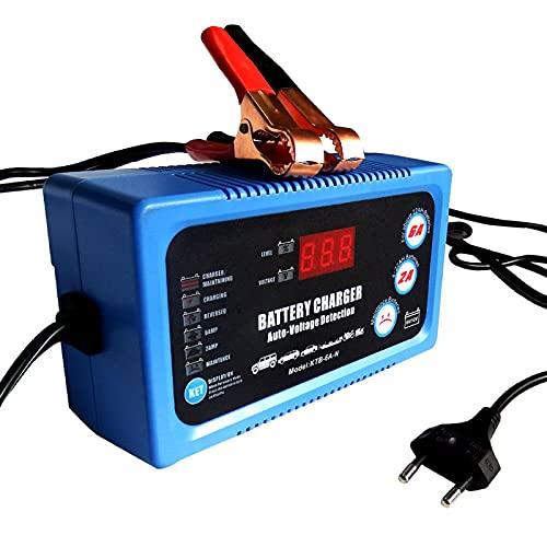 JMYSD Cargador De Batería para Automóvil, 12V 6A Cargador De Batería Portátil Detección Automática De Voltaje con Pantalla LED Cargadores De Batería De Plomo Ácido Secos Húmedos