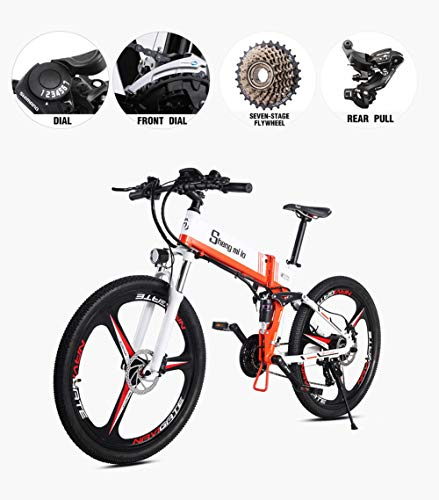 Acptxvh Electric Bike 26' con Gran Capacidad extraíble 48V 10.4Ah de Iones de Litio, Choque eléctrico Frenos 21Speed ​​Plegable Bicicleta Plegable eBike/Disco Doble,Naranja