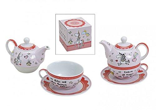 Teekannen 3er Set,Teeservice Motiv Einhorn aus Porzellan Bunt Teekanne mit Tasse aus Porzellan