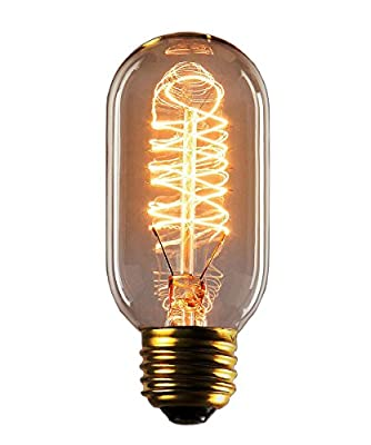 Vintage Edison Bulbs, Rolay 25 Watt T45 Edison Style Square Spiral Filament Incandescent Light Bulb, 1 Pack