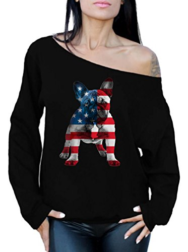Awkward Styles Women's USA Flag French Bulldog Cute Off Shoulder Tops Sweatshirt 4th of July Party Pet Lover Black M