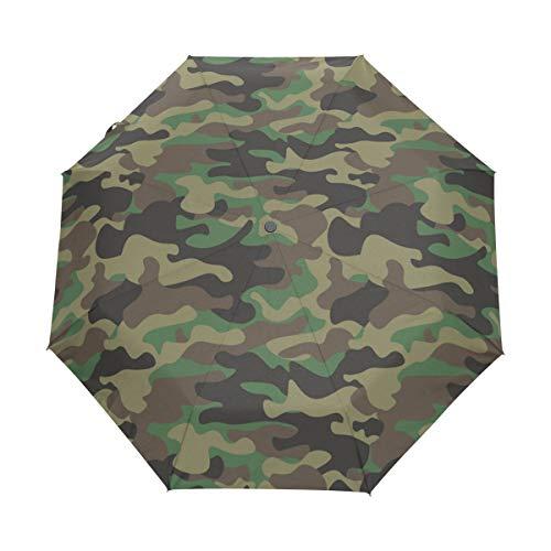 WowPrint winddichter kompakter Regenschirm, Camouflage, automatisch, tragbar, leicht, Reise-Regenschirme für einfachen Transport