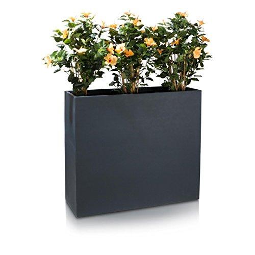 Raumteiler Pflanztrog DIVISOR Fiberglas Blumentrog - wetterfest, frostsicher und UV-beständig, stabiler & robuster Pflanzkübel, Farbe: anthrazit matt