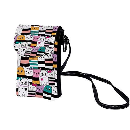 Kleine Crossbody Tasche Handy Bunter Katzenbogen Mini Umhängetasche Leder Tasche Brieftasche mit Credit Card Slots für Frauen 19x12x2cm