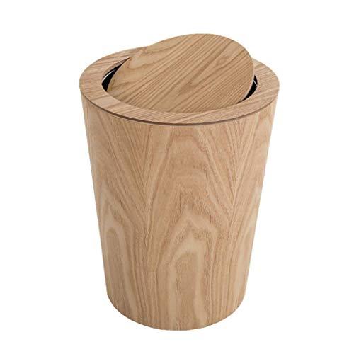 Bote de basura Bote de basura de madera nórdica con concha de almeja Estilo japonés Simple creativo Sala de estar Dormitorio Oficina Hogar Inodoro Bote de basura Bote de basura de escritorio de 1