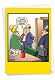 Hold My Calls - Funny Office Happy Birthday Greeting Card with Envelope (4.63 x 6.75 Inch) - Secretary and Boss Humor, Note Card for Men Employees, Husband, Boss - Bday Congratulations Cartoon 8313