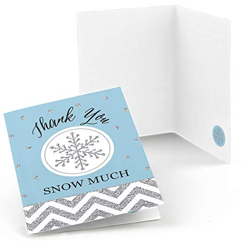 Big Dot of Happiness Winter Wonderland - Snowflake Holiday Party and Winter Wedding Thank You Cards (8 Count)