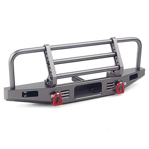 INJORA RC Parachoques Metal Front Bumper con Tow Hook para 1:10 RC Crawler Traxxas TRX4 Defender Axial SCX10 SCX10 II 90046 90047 (Gris)