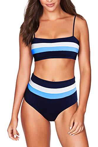 COCOLEGGINGS Women's Color Block Striped Bandeau High Waist Swimsuit Navy Blue L