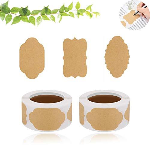 Selbstklebend Kraftpapier Sticker 2 Rolle 500 Aufkleber-Etiketten, Kraft Selbstgemacht Etiketten Sticker, für Küche, Haushalt, Geschenkverpackung, Gewürzdosen, Glasflaschen Scrapbooking