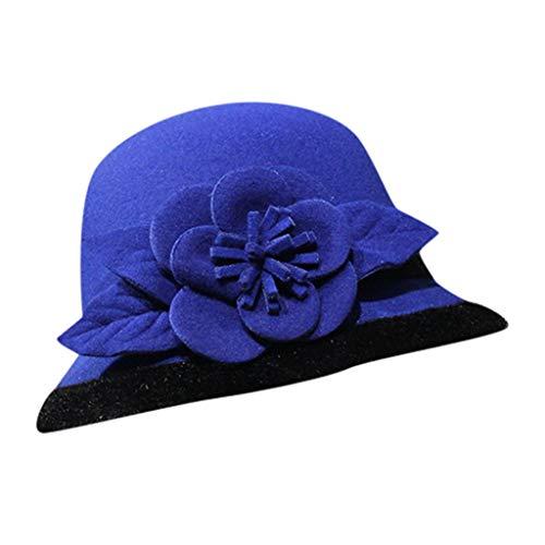 Yue668 - Sombrero de pescador salvaje, con forma de flor de lana, sombrero de pintor de estilo francés, estilo vintage, cálido, Mujer, azul, 56-58cm/22-22.8IN