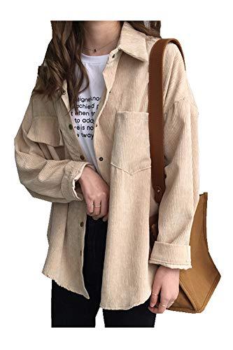 CYSTYLE Retro Vintage Damen Cord Hemd Cordjacke Freizeit BF Jacken Oberteile Casual Langarm Top Outwear (Beige, One Size)