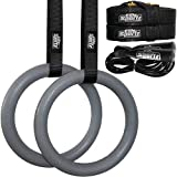 Elite Sportz Gymnastic Rings - Exercise Ring Set for Total Body Strength Training & Pull Ups w/Secure Buckles & Straps - 2 Non Slip Olympic Rings, Indoor Workout Equipment for Kids & Adults