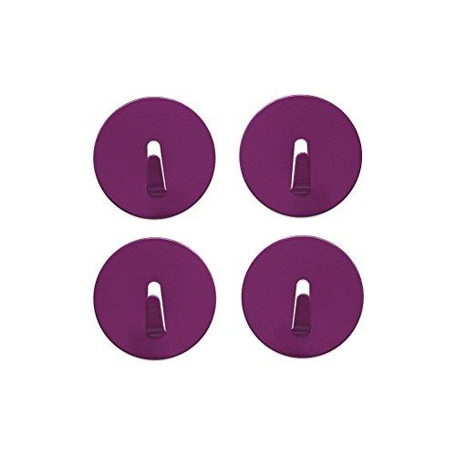 Aimant Crochet MINI-SPOT Ø 4cm, extra forte, coloré, lot de 4 - pour une utilisation quotidienne, Couleurs:lilas