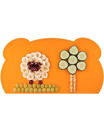 KOKOLIO® Little Panda, Kinder Tischset (Rutschfest & Abwaschbar) MADE IN GERMANY, Platzset Aus Silikon, Tischunterlage Für Babys & Kleinkinder, Malunterlage (Orange)