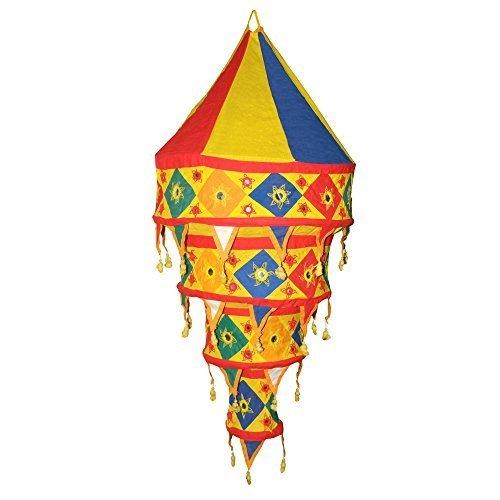 Pantalla lámpara india colorida algodón 90 cm oriental decoración para colgar