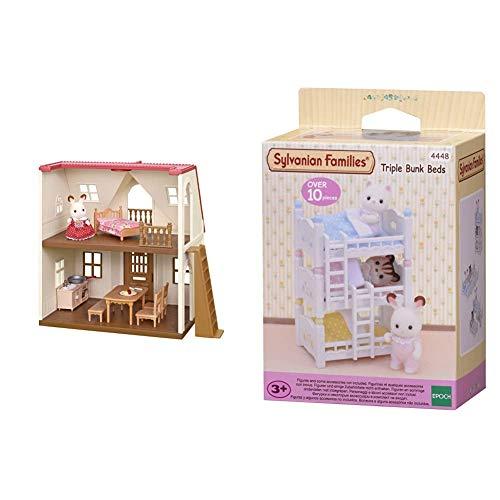 SYLVANIAN FAMILIES 5303 Gioco Casa Lampone Cosy Cottage Starter Home & 4448 Giocattolo Letto A Castello Triplo