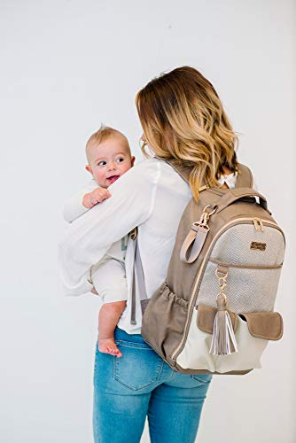 Itzy Ritzy Diaper Bag Backpack – Large Capacity Boss Backpack Diaper Bag Featuring Bottle Pockets, Changing Pad, Stroller Clips and Comfortable Backpack Straps, Vanilla Latte